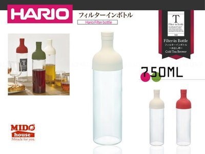 HARIO『 日本 FIB-75 紅酒瓶式耐熱冷泡茶壺/玻璃茶壺 』(三色)750ml 《Midohouse》
