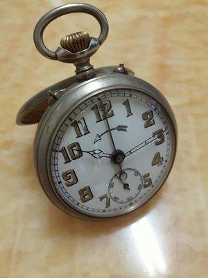德國1900s(軍用)古董陶瓷面盤鬧鈴懷錶