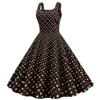 【可開發票】【skew】夏季新款女裝無袖吊帶印花裙百搭圓點方領時尚花色顯瘦大擺連衣裙