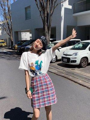 哆啦本鋪 22號新品 9.5折2019春夏新款 撞色格子半身裙 A2204 D655
