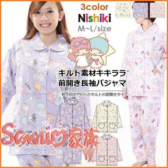 《東京家族》雙子星 成人鋪棉睡衣套裝 粉色 M號.冬季雪花.兔子 厚棉材質舒適保暖