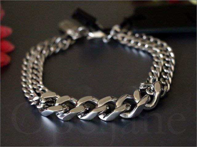 美國真品 A|X Armani Exchange AX 亞曼尼 阿曼尼 寬粗細雙版不鏽鋼 時尚 個性 粗銀色手鍊 手環