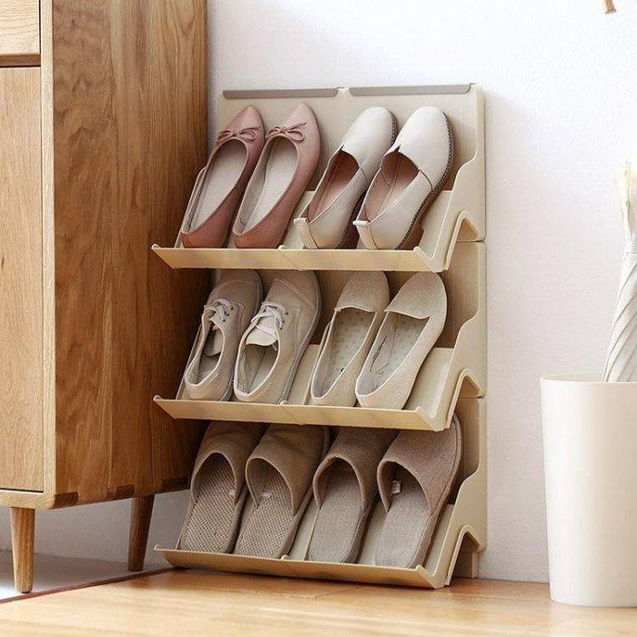 懶角落簡約經濟型塑料鞋架2個裝  省空間簡易架子多功能家用igo