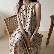 Maisobo 韓 春夏 優雅圓點腰帶收腰無袖洋裝 2色 W-123 預購