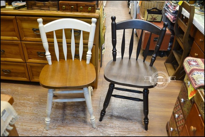 實木餐椅 溫莎椅C款 鄉村風雙色白色刷舊原木電腦椅餐櫃休閒椅辦公椅會議桌長板凳北歐風情圓凳書桌椅吃飯椅化妝椅【歐舍家飾】