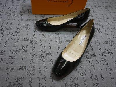 義大利製  L'AUTRE CHOSE 高級漆皮粗跟鞋 EUR 38.5 USA 7 JPN 24