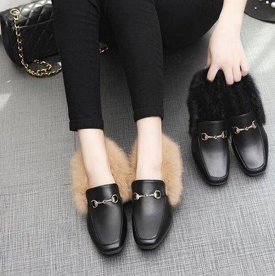 安琪兒╭日系美鞋☆╭☆精品新款發佈【S2248】韓系風瀨兔毛平底毛毛拖鞋短靴 英倫風毛毛鞋 平底鞋