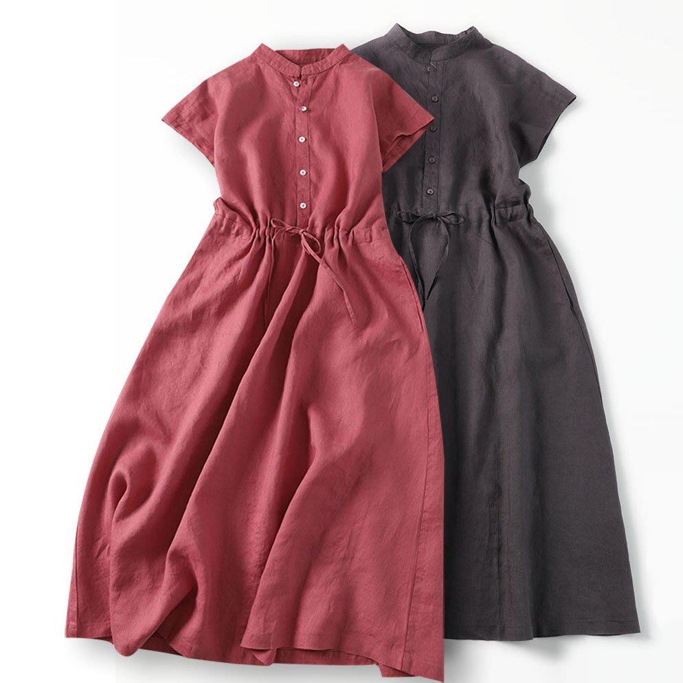 【子芸芳】亞麻連衣裙經典襯衫裙短袖立領收腰大擺長裙日系棉麻女裝夏