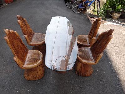 一元起標無底價 ~ 早期 實木 造型  桌椅組 ~ 1桌 4椅