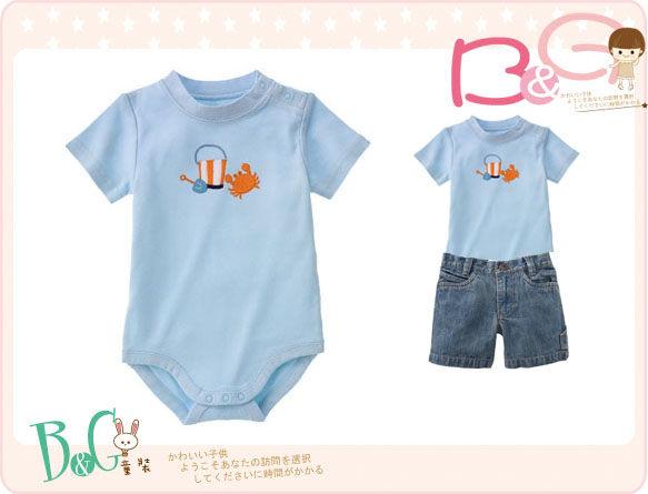 【B& G童裝】正品美國進口GYMBOREE螃蟹圖樣藍色短袖連身衣18-24mos