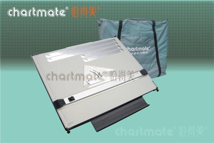 chartmate 恰得美 製圖桌:123PR-60P+AS-8G A2攜帶式平行尺製圖板+20CM勾配定規組合