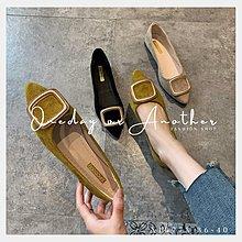現貨🌹尖頭鞋 金屬釦 素面絨面 尖頭 黑色 包鞋 低跟平底軟底 樂福鞋 紳士鞋 學生鞋 OL上班族 工作鞋