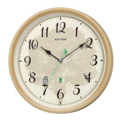 日本正版 Rhythm 麗聲 樹木 貓頭鷹 靜音秒針 掛鐘 時鐘 日本野鳥協會 8MN409SR06 日本代購