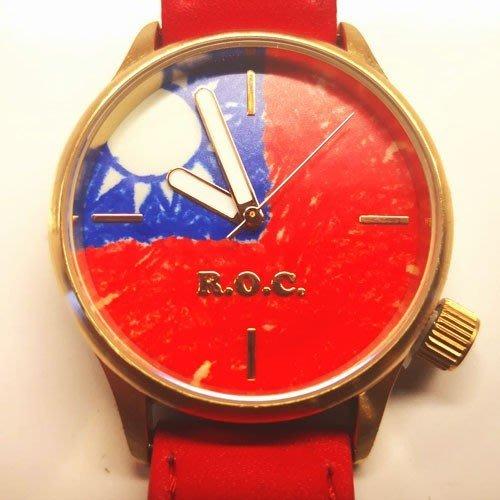 塗鴉國旗系列商品-國旗手錶-雙面小牛皮國旗手錶 (男錶女錶)-禮盒包裝送禮時尚