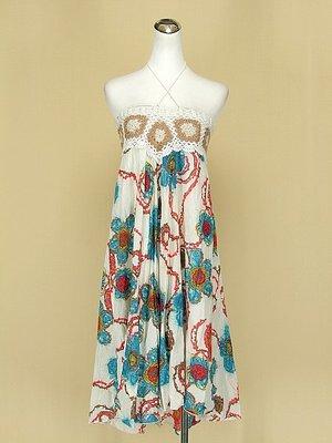 貞新 Wei Ma 米詩格 寶藍花朵編織平口細肩帶棉質洋裝F號(42098)