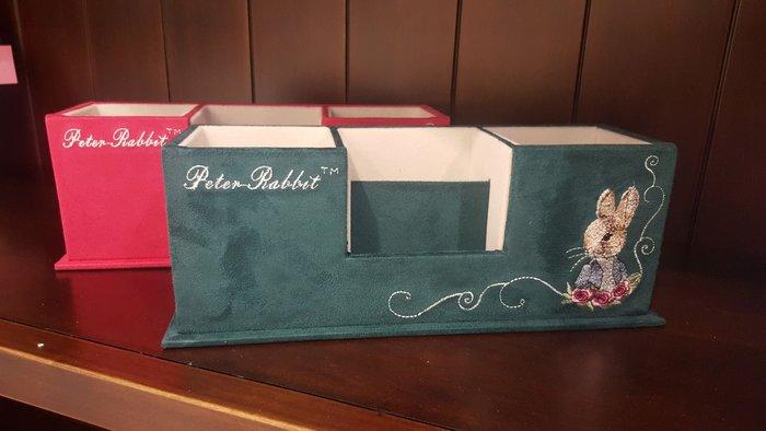 彼得兔仿麂皮刺繡置物盒 收納盒 筆筒文具盒收納盒 遙控器收納盒