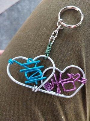 情侶雙愛心鑰匙圈訂做