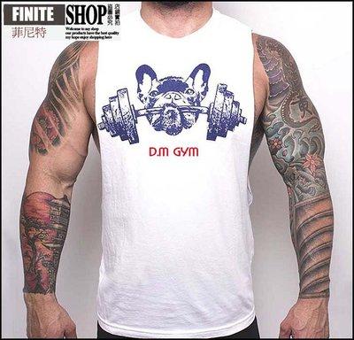 Finite-菲尼特- D.M男背心 夏季寬鬆運動健身青年圓領純色棉卡通印花潮性感無袖