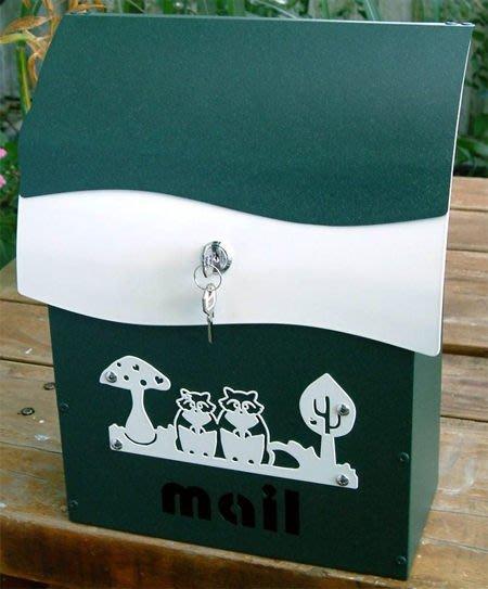 ☆成志金屬☆鋁合金彩色信箱--小--有鎖--墨綠砂---基本款