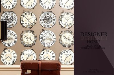 【LondonEYE】DESIGNER 英國進口期貨壁紙 TIME 世界骨董鐘 英式古典/紐約風 歐洲純紙《P021》
