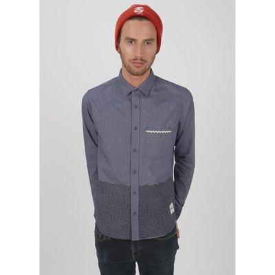 Freaky House-英國品牌Supremebeing Frak 潑墨口袋點點窄版長袖襯衫-藍灰色-女可穿
