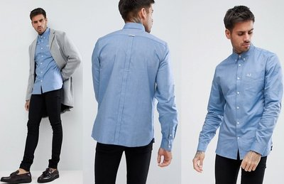 ◎美國代買◎ASOS代買Fred Perry牛仔藍經典百搭色藍色口袋牛津長袖襯衫~英倫潮牌街風~大尺碼