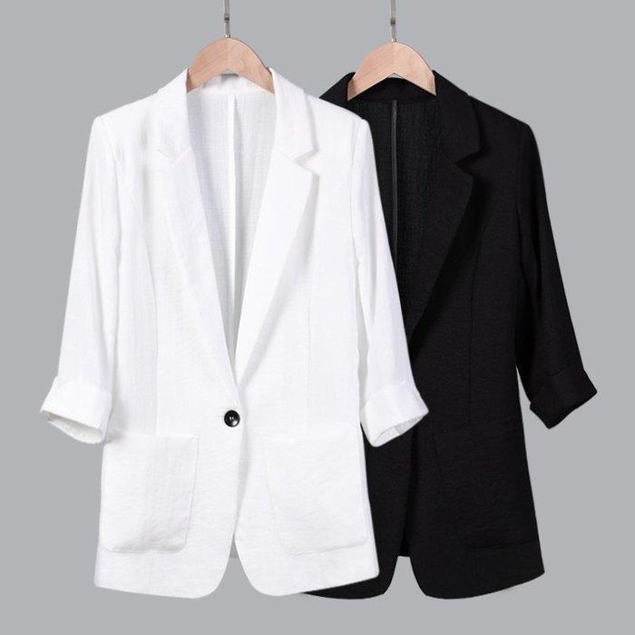 大尺碼西裝 七分袖小西裝女夏裝外套新款時尚簿款休閑200斤大碼西服