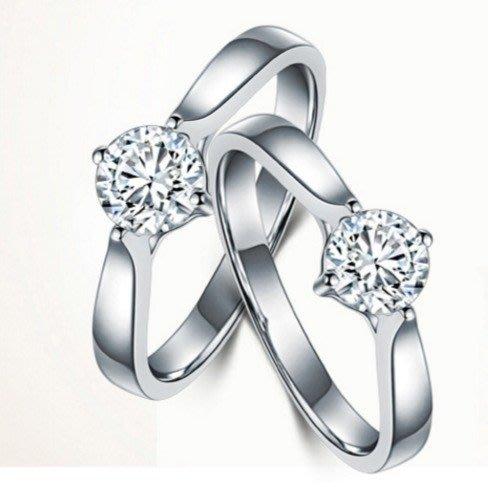 0.80 克拉鑽戒單純簡樸鑽戒求婚 結婚 情人節禮物 鑽石純銀包白金戒指 高碳仿真鑽莫桑石  FOREVER鑽寶