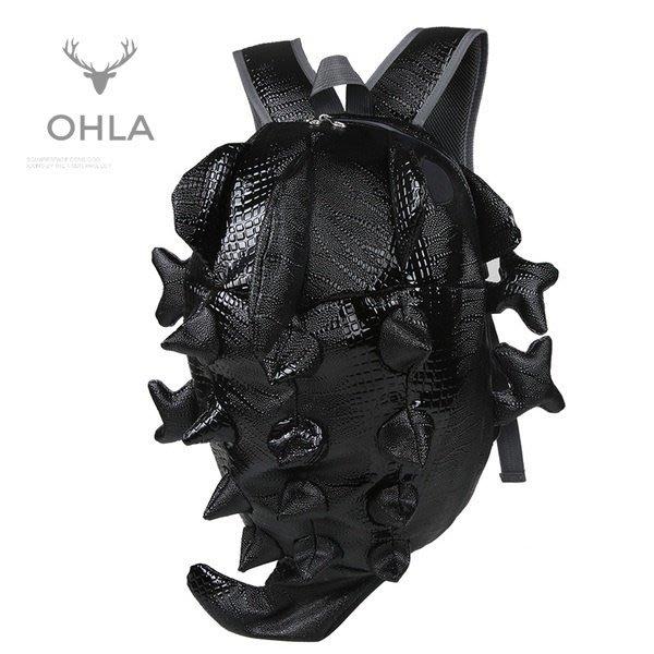 ☆歐拉雜貨屋☆大容量個性推薦款街頭酷炫仿真動物蜥蜴造型後背包書包旅行包男包