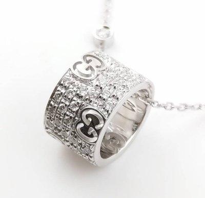 GUCCI 古馳 18白K金/鑽石項鍊/  專櫃售價154500元