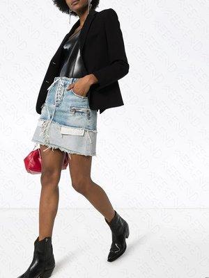 【WEEKEND】 UNRAVEL 拼接 斷層 假兩件 牛仔 裙子 短裙 藍色 20春夏