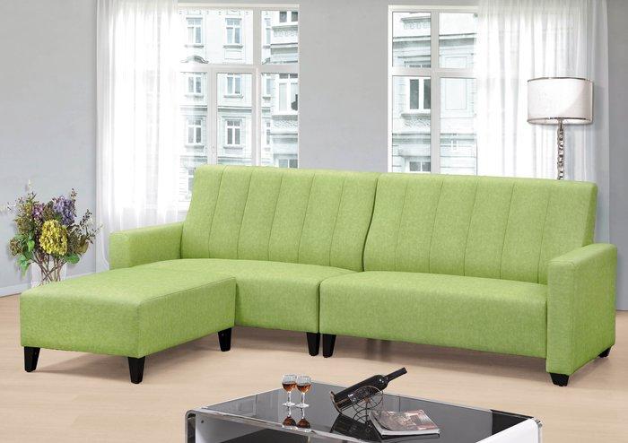 【DH】商品編號BC147-1商品名稱青蘋果貓抓皮L型沙發組258CM(圖一)輔助椅可左右移動擺飾.主要地區免運費