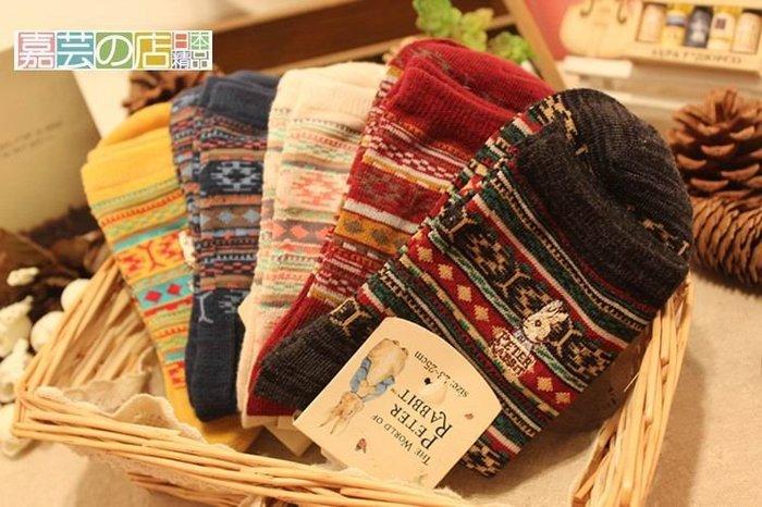 嘉芸的店 日本彼得兔 田園風 復古棉質刺繡短襪 普普風秋冬新色 日本棉質精緻襪子 棉襪 七雙990