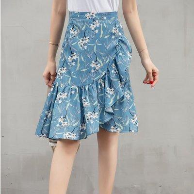 半身裙 連身裙 春夏韓版時尚碎花裙印花荷葉邊中長裙半身裙女