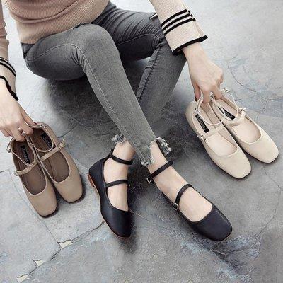 可開發票 復古方頭休閒鞋 復古做舊芭蕾舞平底鞋z3431