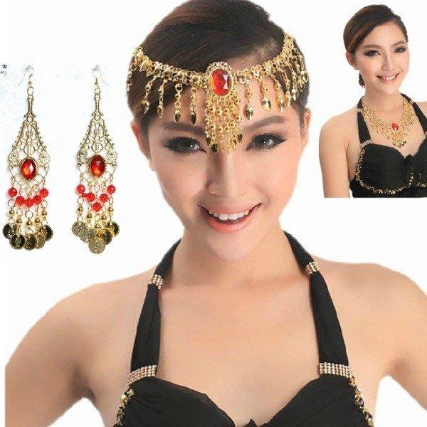 5Cgo【鴿樓】會員限定促銷 553632337138 肚皮舞項鏈頭飾印度舞肚皮舞紅寶石金幣黃金色首飾飾品 項鍊+耳環