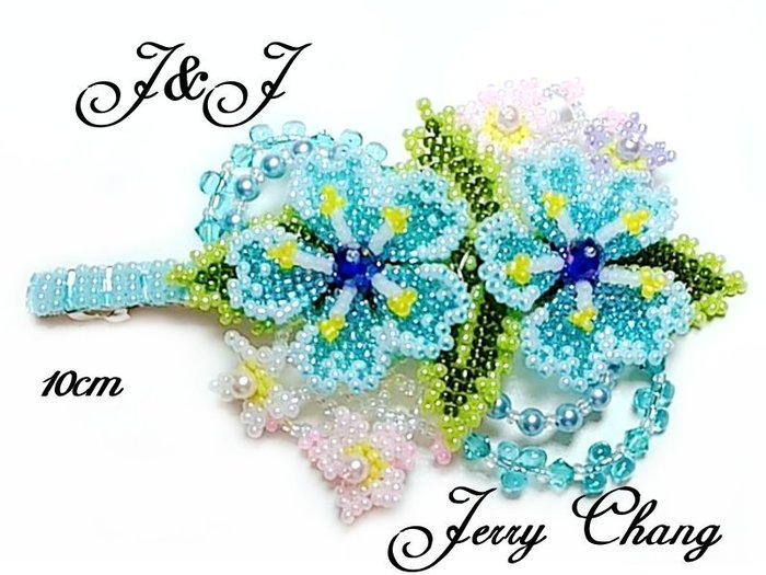 J&J精品~與妳同心~SWAROVSKI水晶珠寶編織立體花葉法國夾~清新水藍款