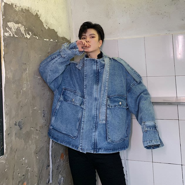 FINDSENSE 2019 秋季上新 G19  男裝 上衣 大口袋水洗牛仔外套寬鬆廓形牛仔夾克
