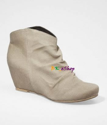 【美衣大鋪】☆ EXPRESS 正品☆COVERED WEDGE CANVAS ANKLE BOOTS 契型短靴