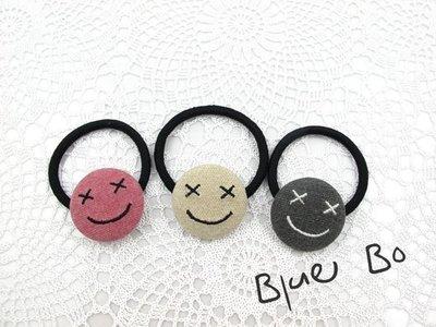 ~~BlueBo~~ 韓國飾品 可愛開心微笑臉髮束  橡皮筋 大腸圈 髮飾 綁綁