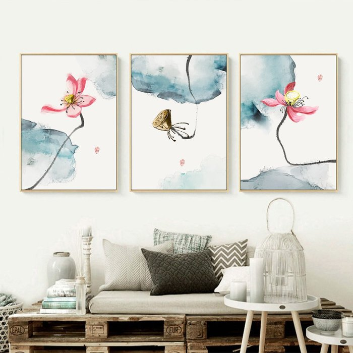三幅一組油畫布 水墨荷花韻味 畫芯/畫布/30X40☺暖暖屋☺傢居藝術館