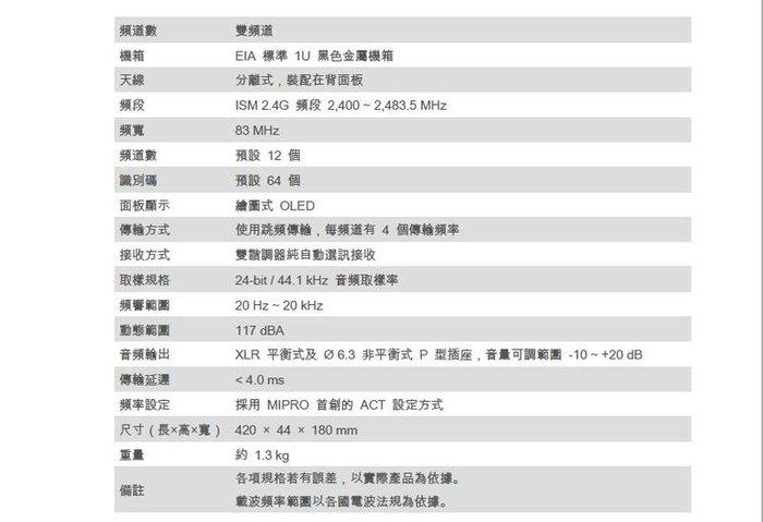【好康投影機】MIPRO ACT-2412 /ACT-24HC*2 1U雙頻道接收機~來電詢問享優惠~歡迎洽詢~