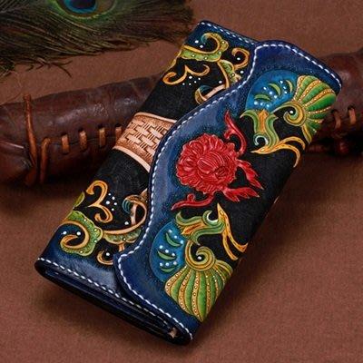 長 夾 手工真皮 錢包-精美皮雕亮麗色澤男女皮夾73tf46[獨家進口][米蘭精品]