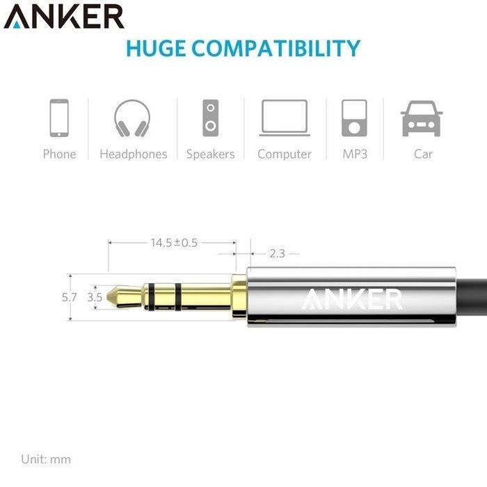 又敗家Anker長1.2米Premium耳機延長線3.5mm耳機音源線AUX-IN音訊線Apple iPod iPad iPhone 7 6 5 air pro