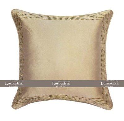 【 LondonEYE 】法夏系列-凱莉 簡練現代XMANHATTANX低調奢華金色立體燙鑽 純手工訂製抱枕套(芯)