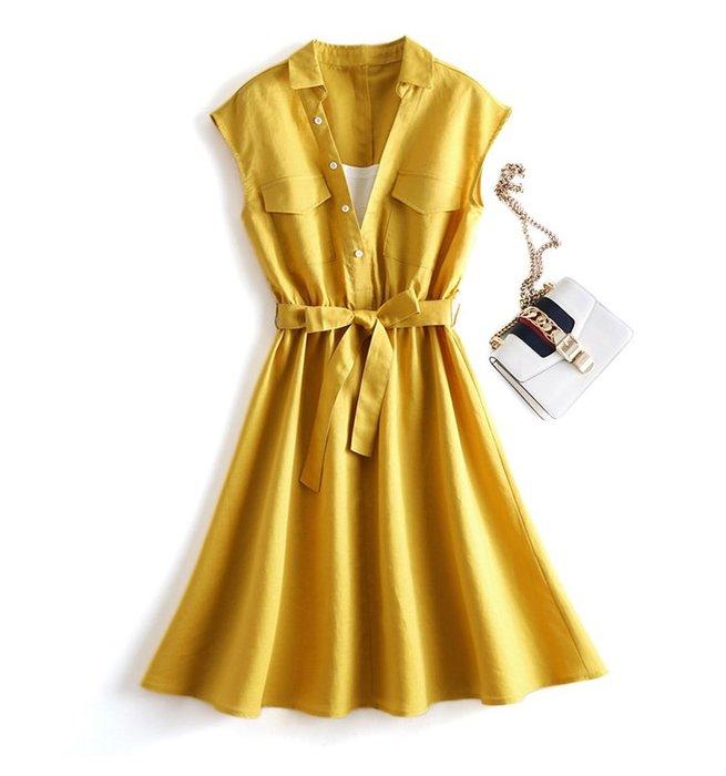 【木風小舖】小V領撞色 縮腰假二件綁帶洋裝*3色
