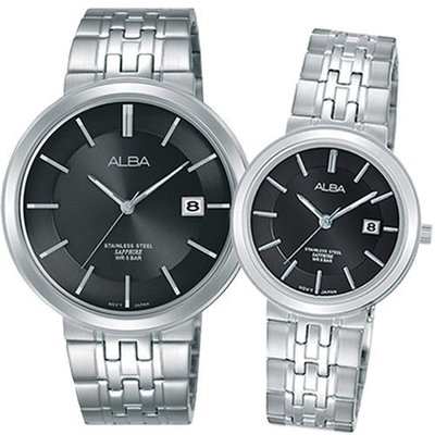 ALBA 雅柏 簡約大三針黑面不銹鋼情侶腕錶/ 男VJ42-X224N/ 女VJ22-X254N 新北市