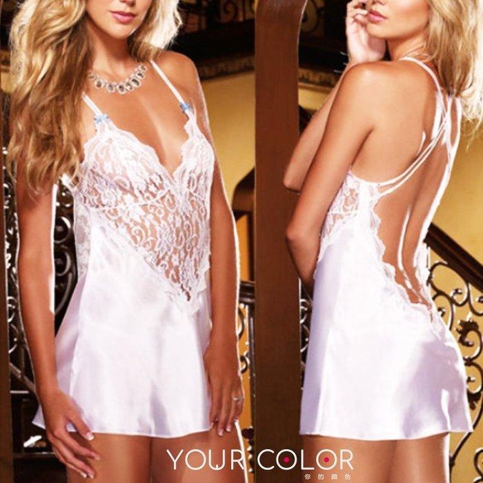 蕾絲睡衣/白|蕾絲透視肩帶睡衣|1C1|YourColor 你的顏色