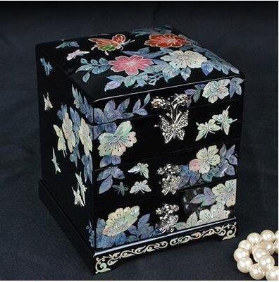【優上】首飾盒公主歐式韓國實木質珠寶飾品盒宮廷復古「黑色」