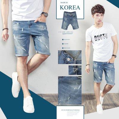 。SW。【K91572】正韓PE 韓國製 漆痕抽鬚淺藍刷色 後皮標 彈性單寧布 觸感舒適 窄版  彈性牛仔短褲 GD
